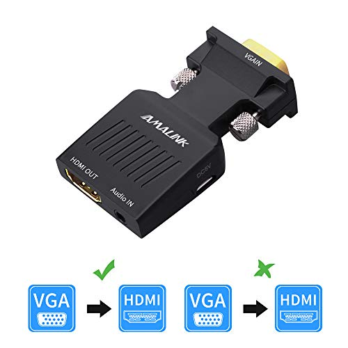 VGA to HDMI Adapter, AMALINK Stereo R/L Channel 5V1A VGA + Audio to HD Converter for HDTV, VGA Male to HDMI Female ()
