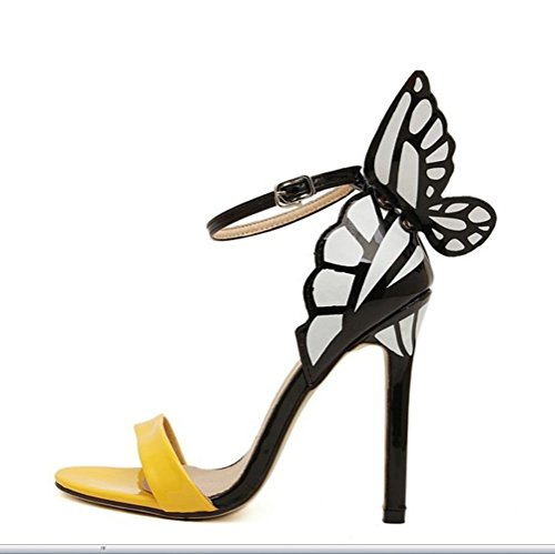 Tip Sandalias Liangxie Ultimate Cuero Hechas Tacones Altos Señora Shoes Novia Heels High Peeps Mujeres Mano Amarillo 3d Butterfly A YqAYOw