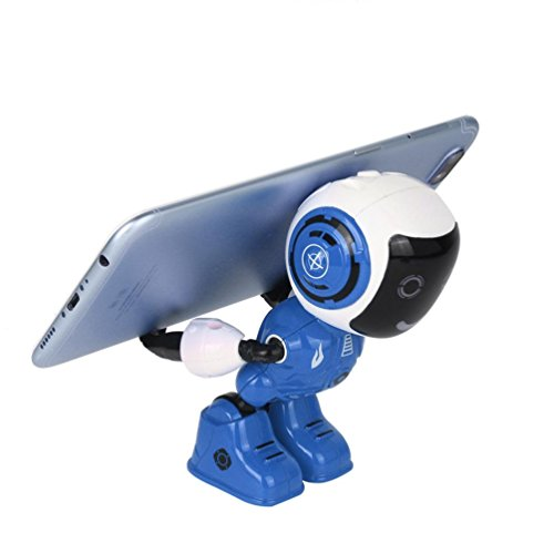 Gbell Interactive Electric LED Sound Intelligent Alloy Robot Toys, Novelty Phone Stand Holder Support for Kids Boys Girls Blue Red (Blue)
