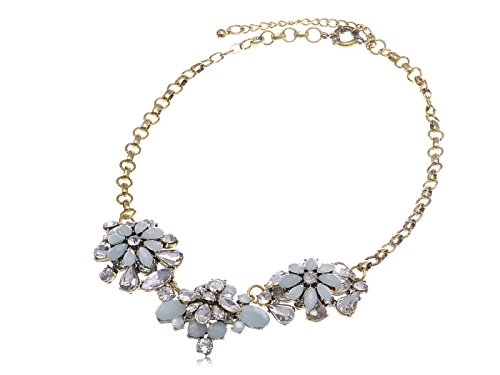 Alilang Antique Style Blue Opal Like Rhinestone Flower Trio Golden Tone Fashion Necklace -