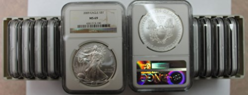 - 2009 Lot of 20 Silver Eagles MS69