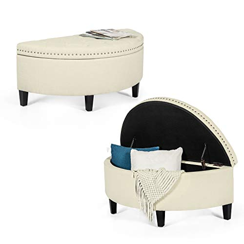 Joveco Storage Bench Half Moon Button Tufted Ottoman for Bedroom Entryway (Beige) (Circle Storage Ottoman)