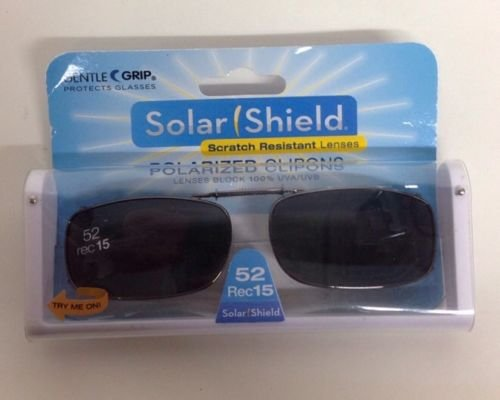 SOLAR SHIELD Clip-on Polarized Sunglasses Size 52 rec 15 Black Full Frame - 15 Sunglasses