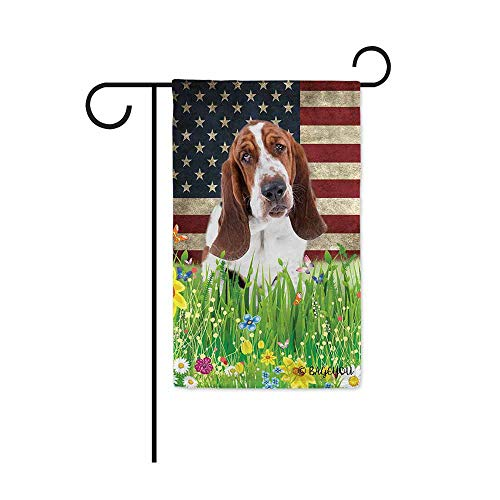 BAGEYOU Cute Puppy Basset Hound Garden Flag Lovely Pet Dog American US Flag Wildflowers Floral Grass Spring Summer Decorative Patriotic Banner for Outside 12.5x18 inch Printed Double -