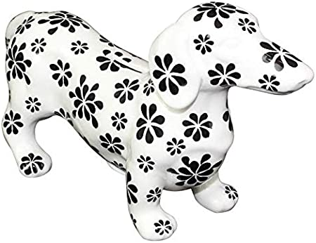 Ceramica Colore: Bianco e Nero Flowers Salvadanaio in Ceramica Ted Teckel POMME-PIDOU