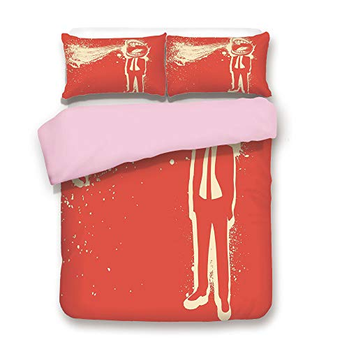 Pink Duvet Cover Set,King Size,Trippy Man Screaming Big Mouth Mad Man in Suits Work Life Boss Quirky Artistic Graphic Decorative,Decorative 3 Piece Bedding Set with 2 Pillow Sham,Best Gift For Girls W -