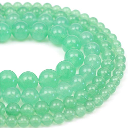 Oameusa Natural Round Smooth 6mm Greenstone Green Jade Beads Gemstone Loose Beads Agate Beads for Jewelry Making 15