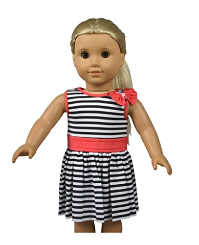 Glamerup: Kasato - Simple & Elegant Striped Banded Dress with Bow for Most 18 inch Dolls