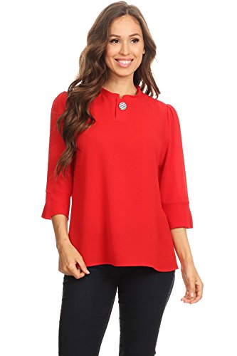 (Via Jay Solid Casual Relaxed Unique 3/4 Sleeve Manadarin Collar Button TOP Blouse (Medium, Red) )