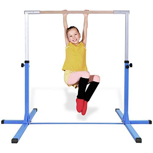Costzon Junior Training Bar, Gymnastics Adjustable Steel Gymnastic Horizontal Bar (Blue)