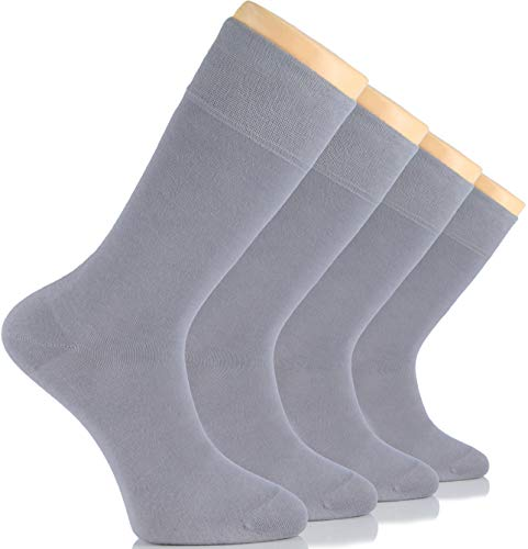 Hugh Ugoli Men's Dress Crew Socks Seamless Cotton Casual Business 4 Pairs (Light Grey)