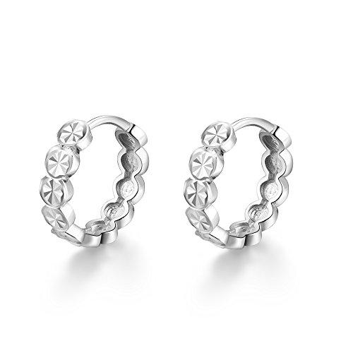 14K Or Blanc Diamant coupe Connecté Cercles Huggie Boucles d'oreilles créoles