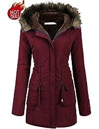 Womens Military Hooded Warm Winter Faux Fur Lined Parkas Anroaks Long Coats