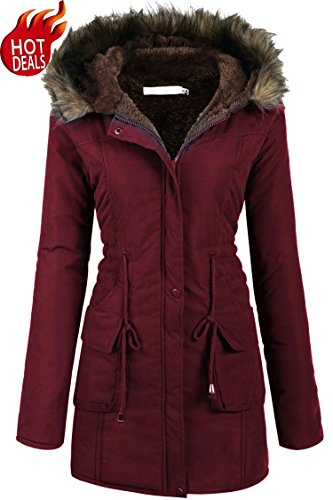 Womens Military Hooded Warm Winter Faux Fur Lined Parkas Anroaks Long Coats, X-Large, Style 2: Wine Red