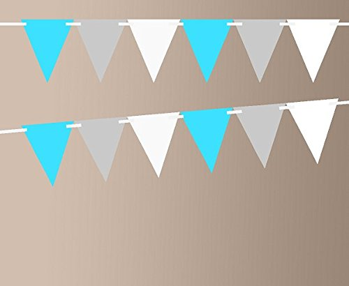 Turquoise Metalic Grey Shimmer White 10ft Vintage Pennant Banner Paper Triangle Bunting Flags for Weddings, Birthdays, Baby Showers, Events & Parties (Pennant Grey)