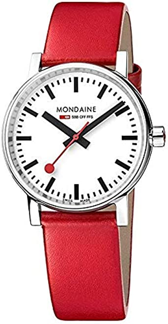 Mondaine evo2 35mm sapphire Watch with St. Steel polished Case white Dial and red leather Strap MSE.35110.LC