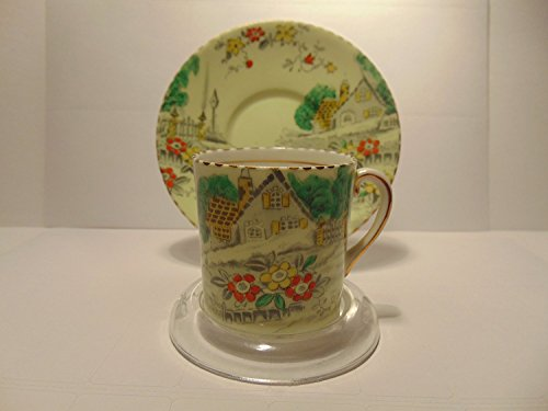 Bone Victoria C&E China England Demitasse Tea Cup & Saucer,PALE GREEN COUNTRY VILLAGE SETTING ()