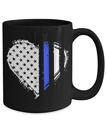 Heart Thin Blue Line Law Enforcement Coffee Mug (Law Mugs Enforcement)