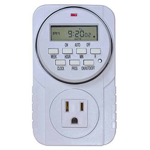 Vegelumax 7 Day Heavy Duty Digital Programmable Timer -UL Listed & Grounded 3-Pin Plug, High Accuracy & Stability, Multi-purpose