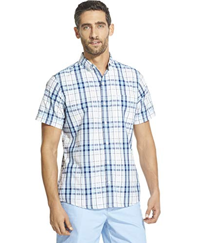 Button Down Plaid Sport Shirt - IZOD Men's Breeze Short Sleeve Button Down Plaid Shirt, Bright White, Large
