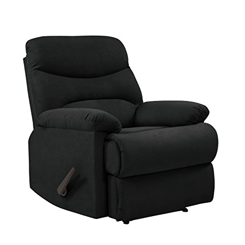 ProLounger Wall Hugger Recliner Chair in Black Microfiber Black Leisure Recliner Chair