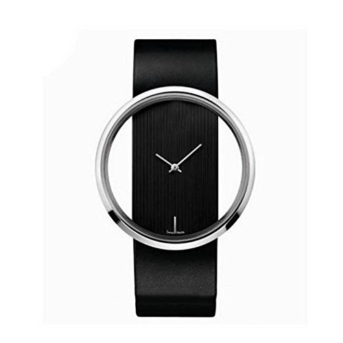 Black Dial Jewelry - ThinIce Women Transparent Dial Synthetic Leather Band Analog Fashion Quartz Wrist Watch Wrist Watches