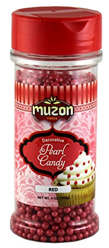 Muzon Red Pearls Edible Cake Decorations (4 oz.) - Sugar Candy Sprinkles - Topping for Icing, Birthday Cupcakes, Sweet Treats & Cookies Red Edible Sugar Pearls Dragees Decoration Balls Candy (Red Edible Sugar Pearls)