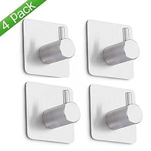 4 piezas adhesivos gancho de toalla hookoo 304 acero for Ganchos adhesivos para pared