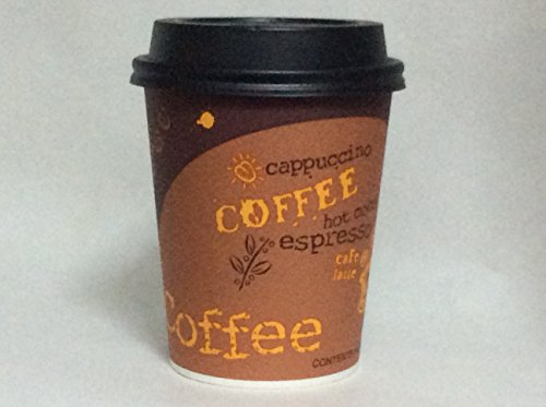 Coffee cups with lids 8 oz. hot paper coffee cups - 100 sets