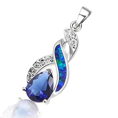 Earrings Tension Set Princess (Hermosa Australian Opal Blue Sapphire Sterling Silver Pendant Necklace Jewelry)