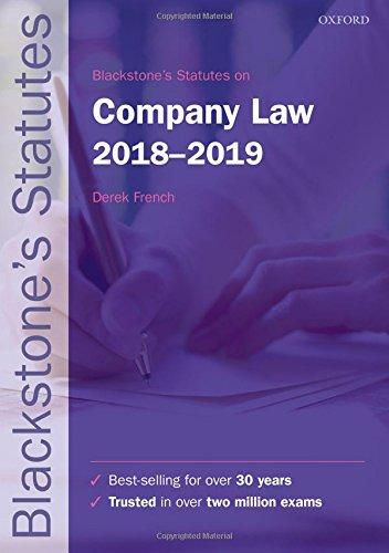 Blackstone's Statutes on Company Law 2018-2019 (Blackstone's Statute Series)