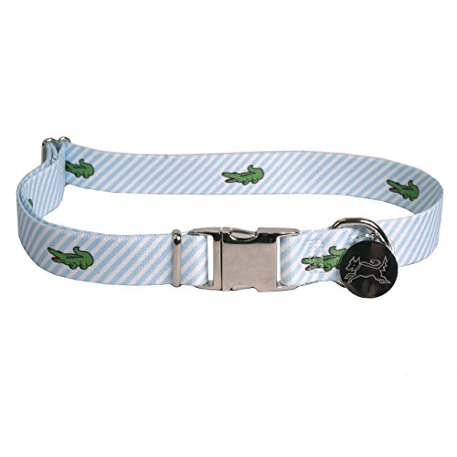 Southern Dawg Seersucker Striped Premium Dog Collar, Blue with Alligators - Small 10-14
