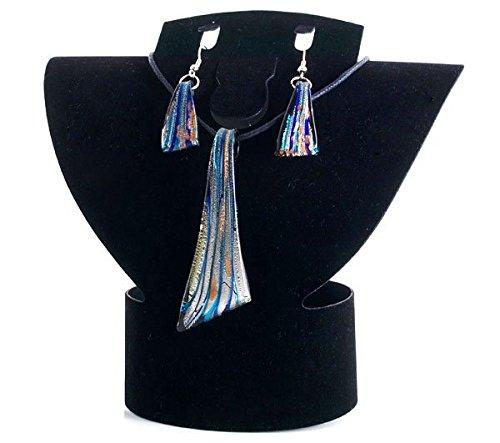 Ecloud Shop Set Black Lampwork Glass Murano Bead Necklace Earrings FASHION