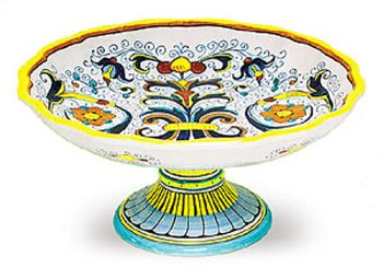 Hand Painted Footed Bowl - Arte D'Italia Imports Handmade Hand Painted Deruta Ricco Fluted Footed Fruit Bowl