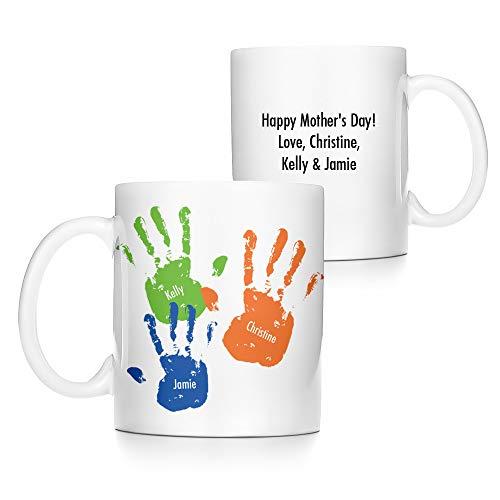 Eve's Addiction Personalized Kid's Handprints Coffee Mug