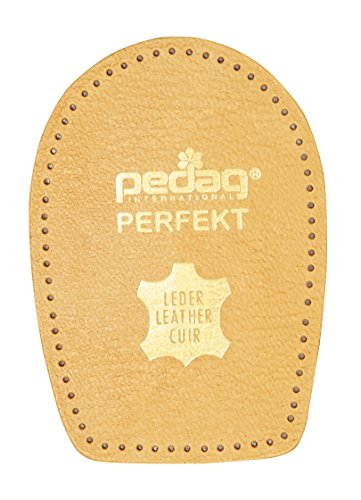 Pedag Perfect Shock Absorbing Heel Pads, Vegetable Tanned Leather and Latex Rubber, Tan, Small (5 to 7L)