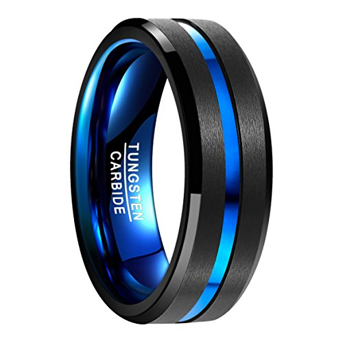 Nuncad Classic 8mm Black Tungsten Carbide Wedding Band Ring Polished Finish Grooved Center Size 8.5