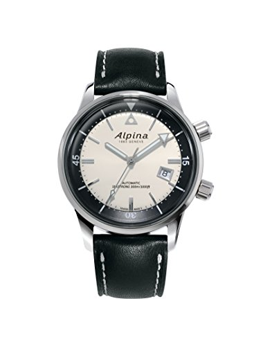 Alpina Men's Seastrong Diver Hertiage Stainless Steel Automatic-self-Wind Watch with Leather Strap, Black, 21 (Model: AL-525S4H6)