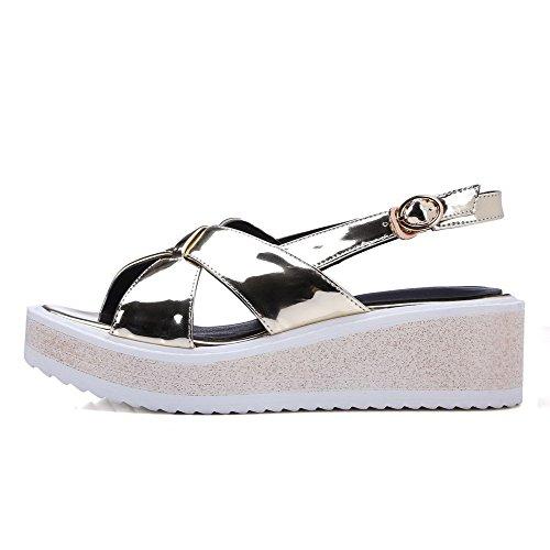 AllhqFashion Women's Buckle Open Toe Kitten Heels Microfiber Solid Sandals Gold K25VvUdb