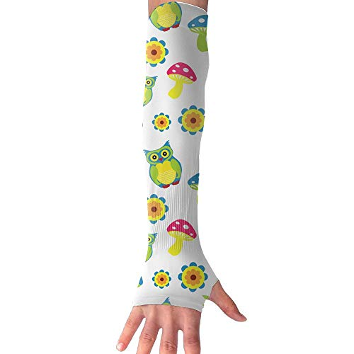 ZHIYANG Happy Owls Super Long Fingerless Anti-uv Sun Protection Sleeves for Outdoor Activities Apply to Camping,Driving,Cycling Arm Prevent Injuries Modeling Classic by ZHIYANG