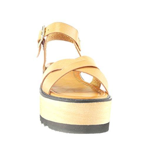 Angkorly - Chaussure Mode Sandale plateforme ouverte femme lanière multi-bride Talon compensé plateforme 6 CM - Camel