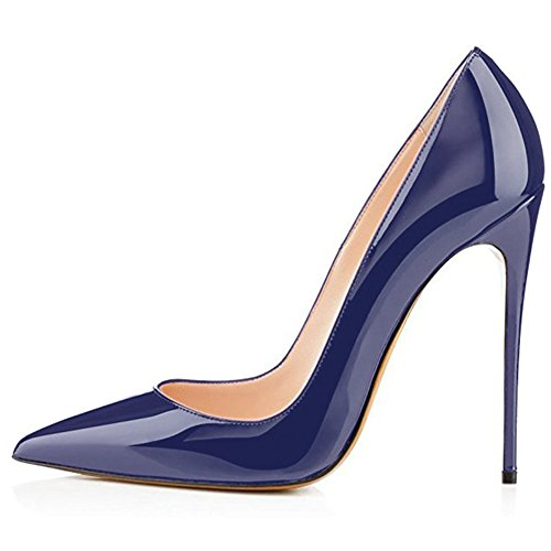 Kmeioo High Heels, Women's Pointed Toe High Heel Slip On Stiletto Pumps Evening Party Basic Shoes Plus Size-Navy Blue 9 M US