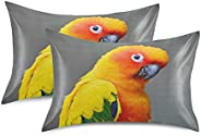 ZXZNC Satin Pillowcase for Hair and Skin Standard Size Colorful Yellow Funny Parrot Sun Conure Cute Patterned