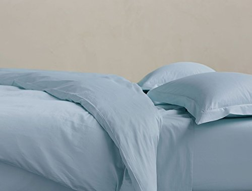 Coyuchi 300 TC Organic Sateen  Sheet Set, Cal King, Pale Sky