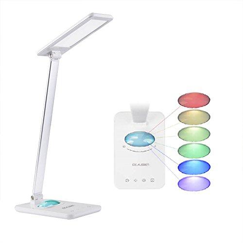 IDEALEBEN 8W LED Schreibtischlampe Tageslicht Augenschutz Leselampe, Helligkeitsstufen Dimmbar, Touchfeldbedienung mit Farbwechsel Nachtlicht