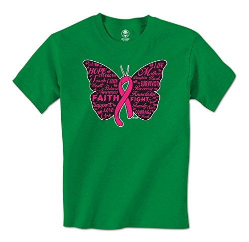 Pink Ribbon Butterfly- Breast Cancer Awareness Mens T-Shirt (XXL (Pink Ribbon Green T-shirt)