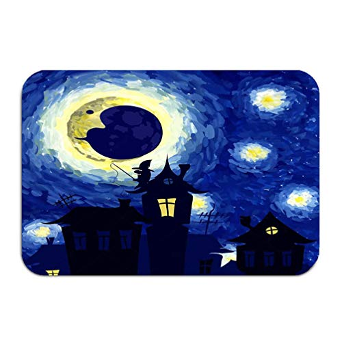 YGUII Outside Shoe Non-Slip Color Dot Doormat Starry Night Style Van Gogh Halloween Background Charming Mats Entrance Rugs Carpet 16X23.6in (40x60cm)