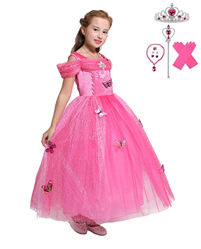 (Lito Angels Girls Princess Aurora Dress Up Costume Halloween Fancy Dress with Accessories Size)