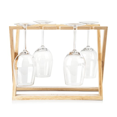 Bamboo Wine Glass Holder Rack: Hangover Foldable Stemware kitchen Organizer to Hold 6 Wine Glasses of Various Sizes, Countertop or Tabletop wood Storage, Display and Drying of Stemmed Wine Glasses (Bamboo Folding Wine Rack)