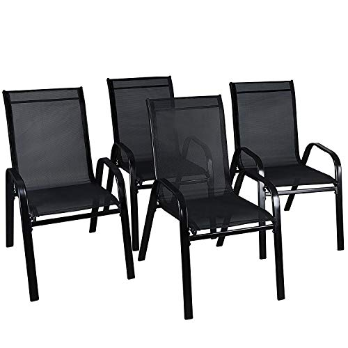 LXDUR Fauteuil de Jardin empilable en textilène avec Dossier Haut pour extérieur, intérieur, Restaurant, Bistro, Patio, Meubles de Jardin (4 chaises)